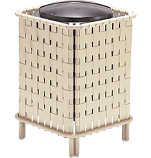 Cross-Weave Trash Bin with Lid and Liner