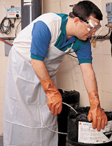 Protective Bodywear - Goggles, PVC Gloves and Apron for Handling Swimming Pool Chemicals