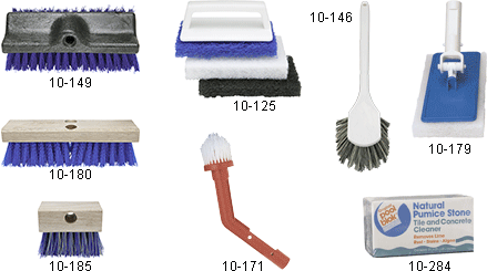 Acid and Scrub Brushes for Swimming Pool Cleaning