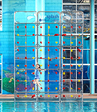Kersplash Pool Climbing Wall with Clear Panels