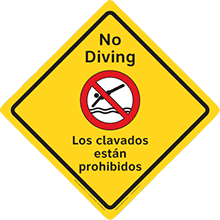 Clarion Safety Diamonds Sign - No Diving