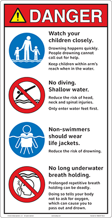 Clarion Safety Pool Entrance Signs