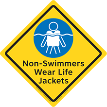 Clarion Safety Diamonds Sign - Non-Swimmers Wear Life Jackets