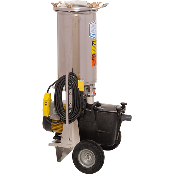 1 H.P. portable swimming pool vacuum filter recycles over 5,525 gallons per hour and features a 105 square foot stainless steel cartridge filter.