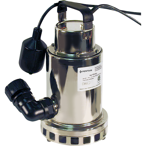 """1/2 hp stainless steel utility pump is a robust submersible pump is designed for draining and utility applications and can run water level down to 1 3/8""""."""