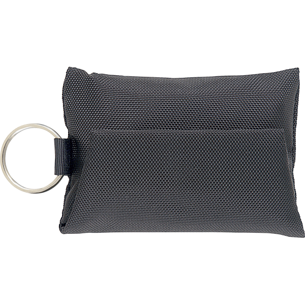 CPR microshield rescue breather key chain is a readily accessible disposable, inexpensive and protective barrier in CPR emergencies.