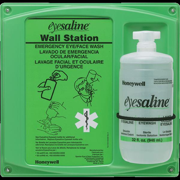 High-impact plastic single emergency eyewash station has full emergency instructions on the front panel. Includes one bottle of saline based eye wash.