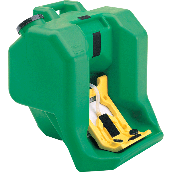 Portable eye wash first aid station produces a full pattern eye flush at 0.4 gpm over a 15 minute period. FDA high-density polyethylene, 16 gallon capacity.