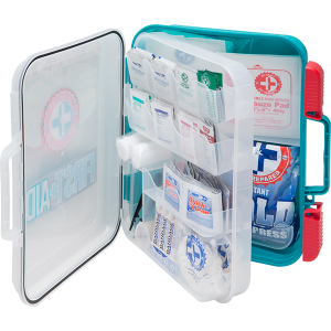 326 piece OSHA aquatics first aid center has a multi-compartment organizer case with a clear cover for quick visibility. Rubber gasket seal keeps out water, dirt and grime.