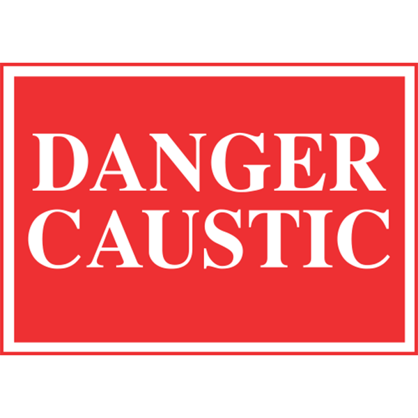 "Danger Caustic sign is made of thick, durable polyethylene plastic with 3/16"" eyelets in each corner for easy installation."