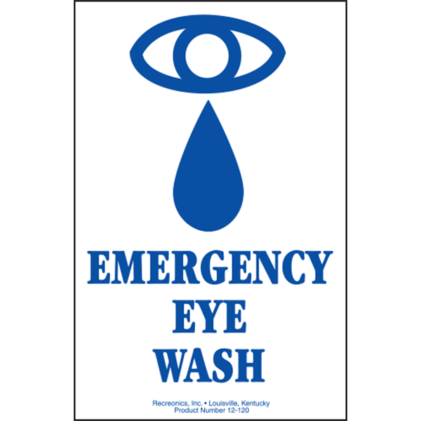 """Emergency Eye Wash sign is made of thick, polyethylene plastic with 3/16"""" eyelets in each corner for easy installation."""
