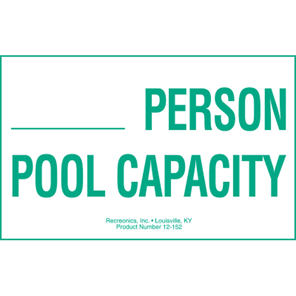 Pool Capacity Swimming Pool Sign