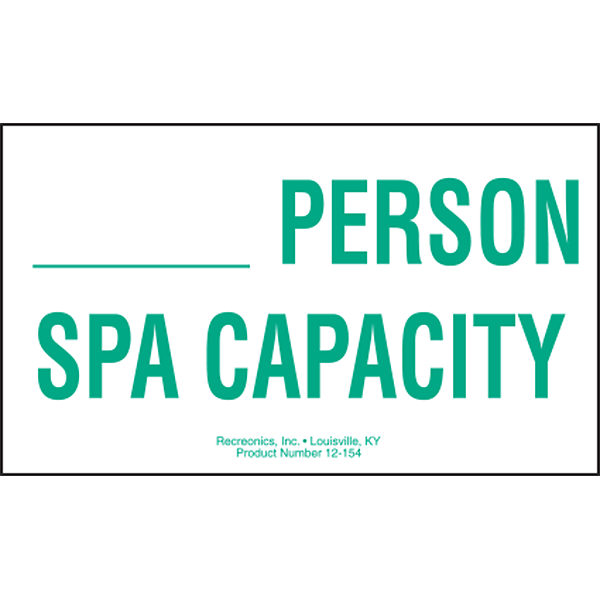 Spa Capacity swimming spa sign is for commercial spas and has space to write in the person capacity for your spa. Meets most state and municipal codes.