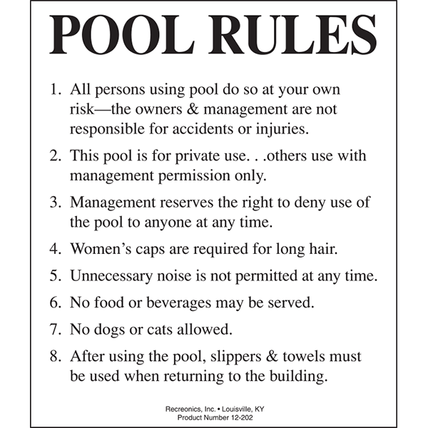 Pool rules swimming pool sign - California swimming pool building codes ...