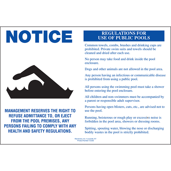 Public Pool Rules Swimming Pool Sign
