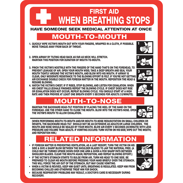 CPR - First Aid When Breathing Stops sign for all facilities and provides instructions on mouth-to-mouth and mouth-to-nose resuscitation.