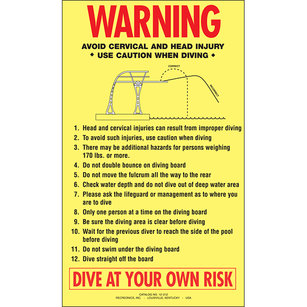 Warning Dive At Your Own Risk Swimming Pool Sign