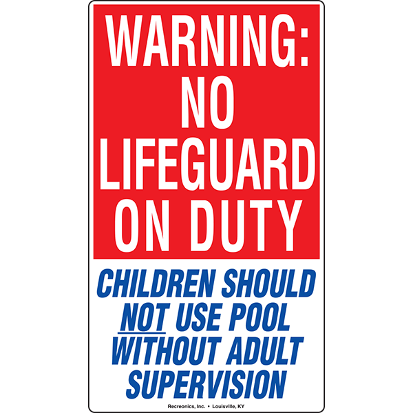 Texas Code - No Lifeguard On Duty swimming pool sign meets Texas code. Includes the message that children should not use the pool without adult supervision.