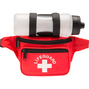 Lifeguard responder fanny pack with lifeguard and cross logo. Three spacious pockets allow for versatility to carry all of your lifeguard accessories.