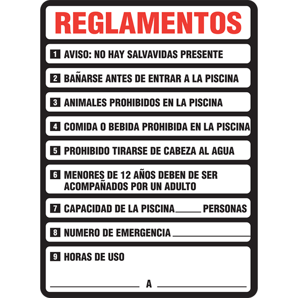Spanish Pool Rules Reglamentos Swimming Pool Sign