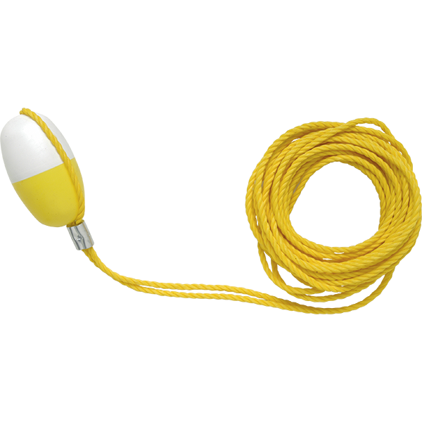 "Recreonics ring buoy line - throw ropes are made of heavy-duty, yellow, floating polyethylene rope with a ""lemon float"" attached to hold the line with your foot."