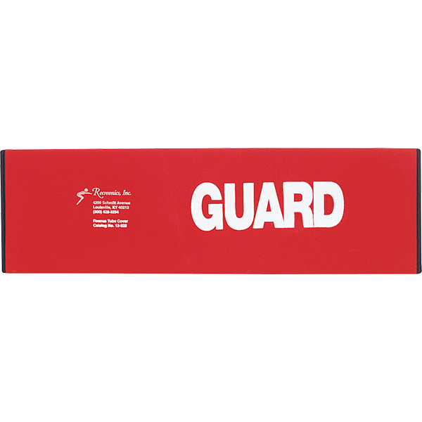 Recreonics red neoprene slip-over tube cover with Guard logo will increase the life of your swimming rescue tube.