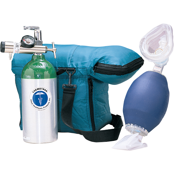 First responder kit is for first arrival to an emergency. Comes with empty medical grade cylinder, oxygen regulator, nasal cannula, disposable resuscitator.
