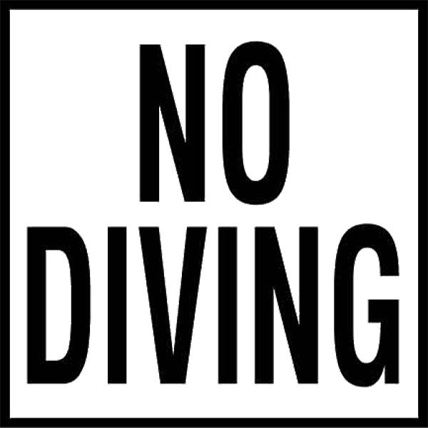 "Swimming Pool Smooth Ceramic Water Line ""No Diving"" Message Tile"