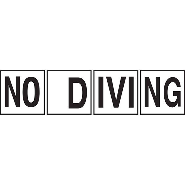 "Ceramic Swimming Pool Deck ""NO DIVING"" Message Tiles"