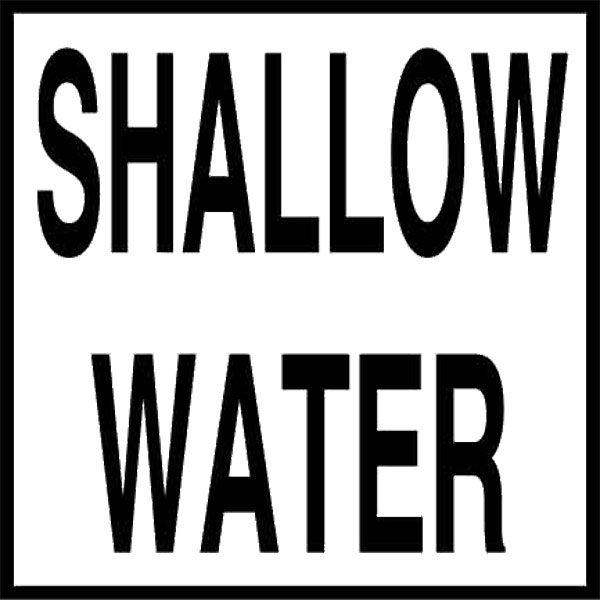 "Swimming Pool Ceramic Water Line ""Shallow Water"" Message Tile"
