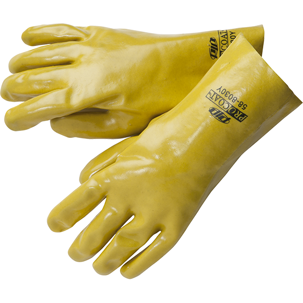 "12"" chemical protection PVC work gloves with fully coated gauntlet."