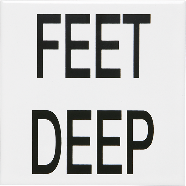 "Smooth and non-skid ceramic ""Feet Deep"" lettering pool depth marker tiles."