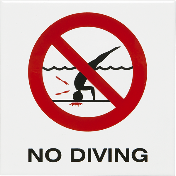 "Smooth and non-skid ceramic ""NO DIVING"" symbol pool depth market tiles."