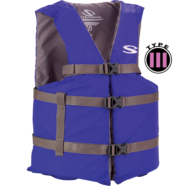 Blue adult universal classic life vest is USCG approved general boating.