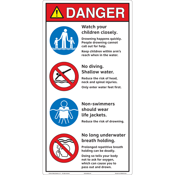 3 Symbol - Watch Children-No Diving-No Long Breath Holding Pool Entrance  Outdoor Safety Sign - 16 in x 10 in