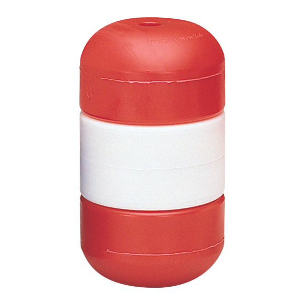 "3"" x 5"" red-white-red Handi-Lock line floats twist and double lock onto swimming pool rope without attachments."