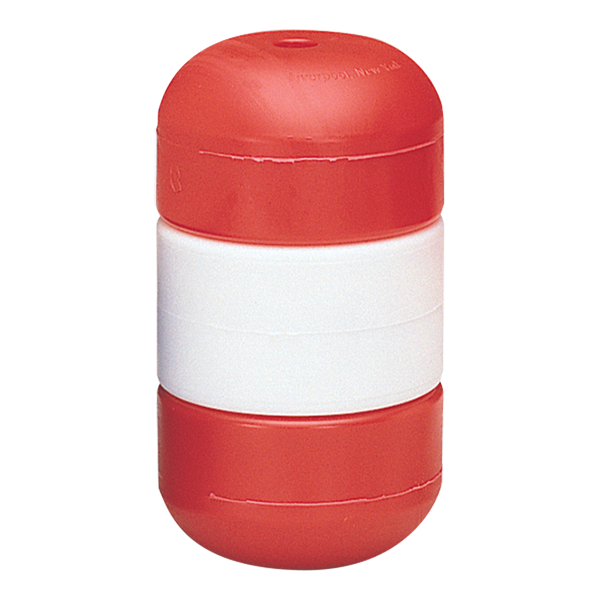 """5"""" x 9"""" red-white-red Handi-Lock line floats for swimming pool rope."""