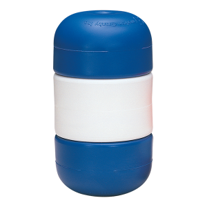 "Blue-white-blue Handi-Lock line floats twist and double lock onto 1/2"" swimming pool rope without attachments, as required by other floats."