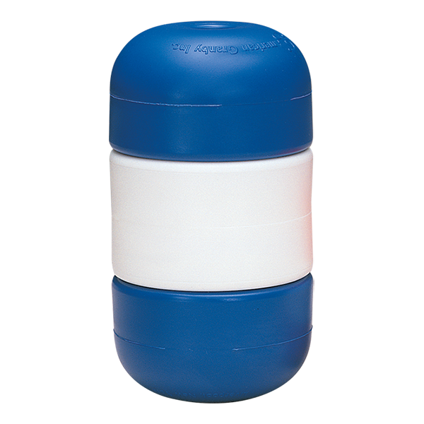 "Blue-white-blue Handi-Lock line floats twist and double lock onto 1/2"" swimming pool rope without attachments."