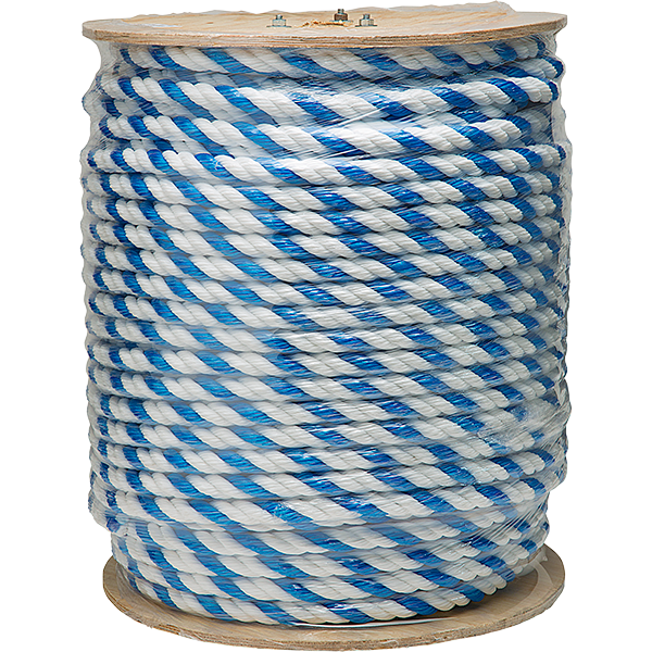 Spool of 0.25 inch Blue-White Floating Polypropylene Swimming Pool Rope