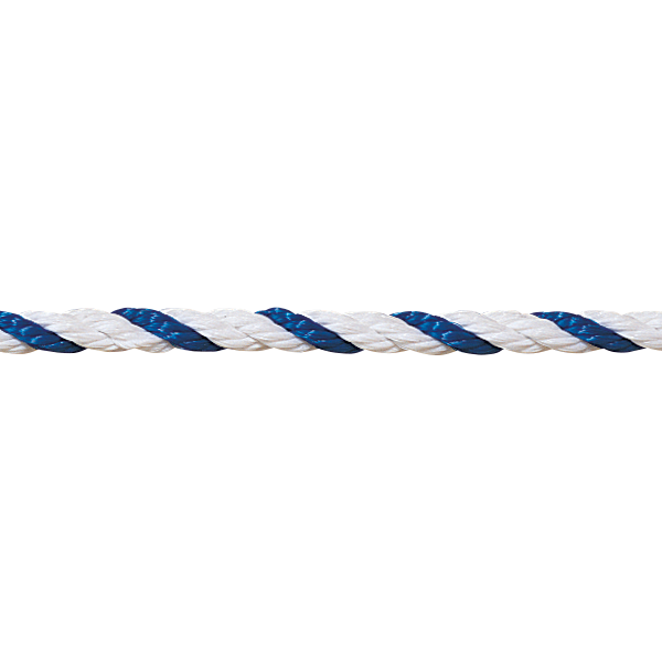 """1/2"""" blue-white floating polypropylene swimming pool rope is made for harsh swimming pool environments."""