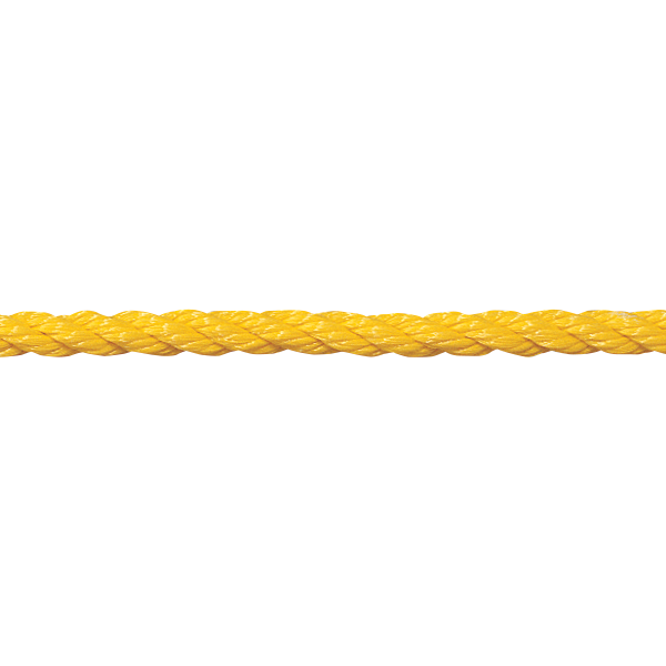 """1/2"""" yellow floating polypropylene swimming pool rope is made for harsh swimming pool environments."""