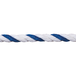 "3/4"" blue-white floating polypropylene swimming pool rope is made for harsh swimming pool environments. Minimal stretch, resists color fading and deterioration."