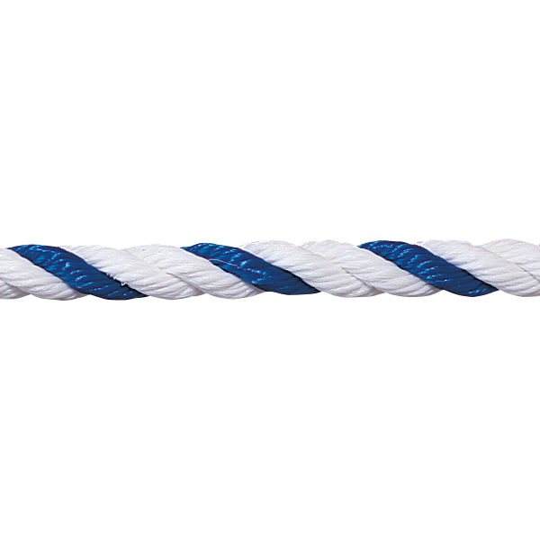 """3/4"""" blue-white floating polypropylene swimming pool rope is made for harsh swimming pool environments."""