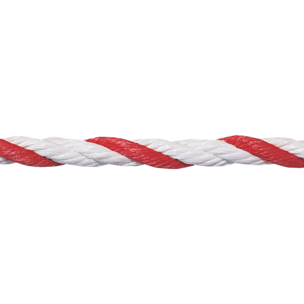 """3/4"""" red-white floating polypropylene swimming pool rope is made for harsh swimming pool environments."""