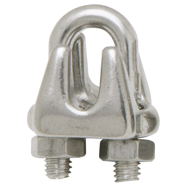 "Stainless steel cable clamp fits 1/4"" - 9/32"" diameter cable."