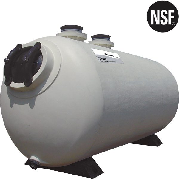 Pentair THS Horizontal Sand Filters are NSF approved hi-rate commercial swimming pool sand filters.