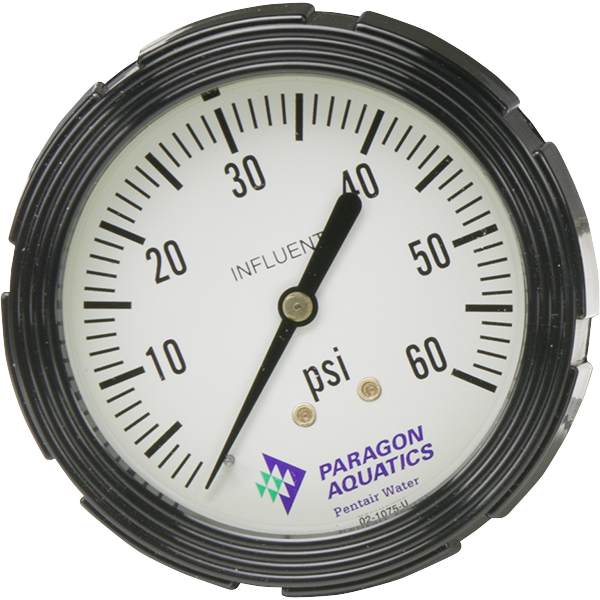Replacement influent pressure gauge for Stark commercial pool filters.