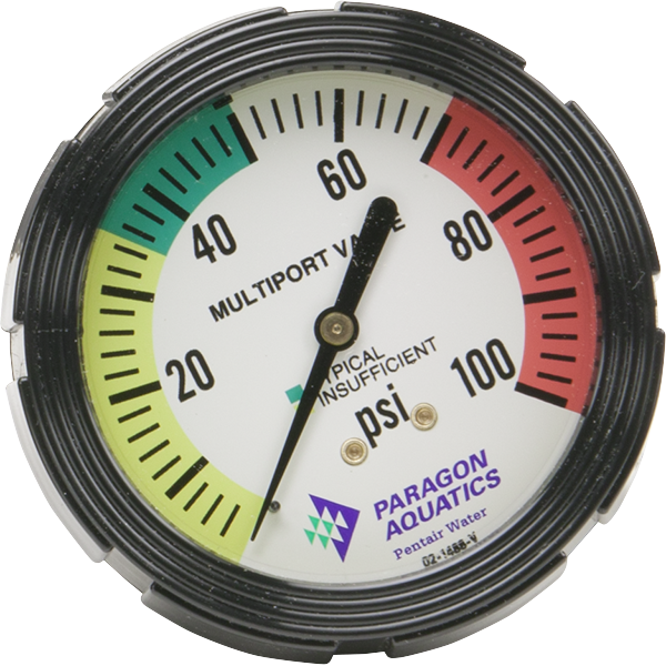 Replacement multiport pressure gauge for Stark commercial pool filters.