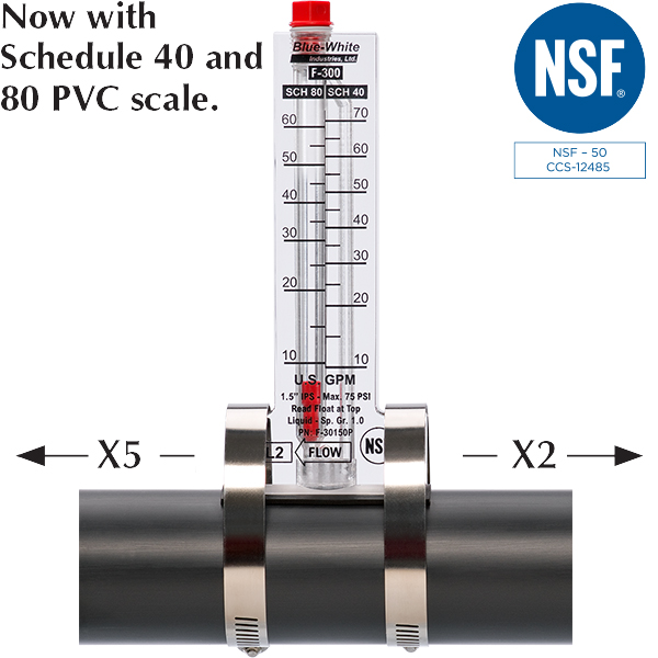 Blue-White F300 series NSF listed insertion mount flow meters.